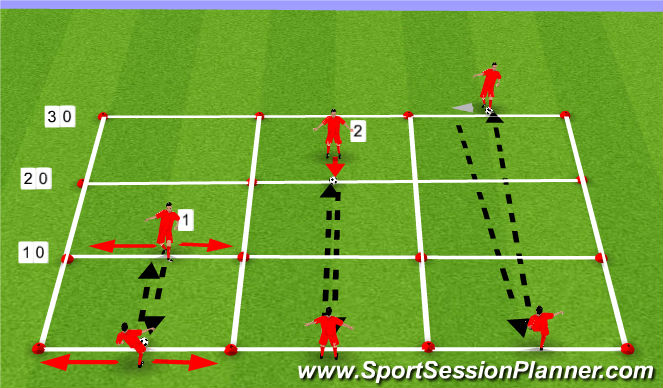 Football/Soccer Session Plan Drill (Colour): PASSING OVER 10-20-30