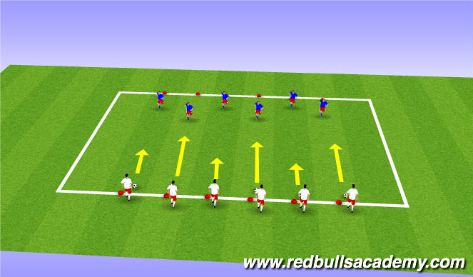 Football/Soccer Session Plan Drill (Colour): 1V1 to zone