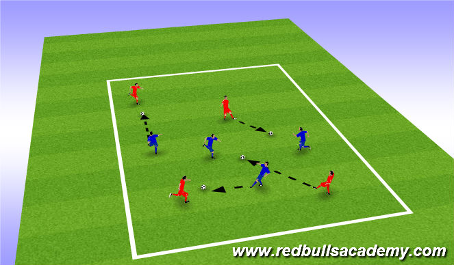 Football/Soccer Session Plan Drill (Colour): closing down with opponant