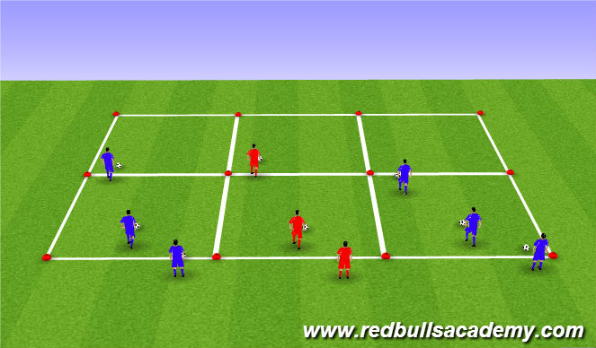 Football/Soccer Session Plan Drill (Colour): Ball mastery warm up