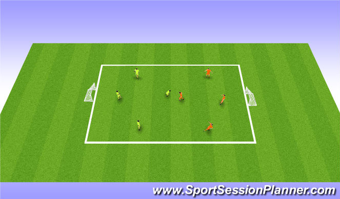 Football/Soccer Session Plan Drill (Colour): 4v4 to goal to finish 530-545