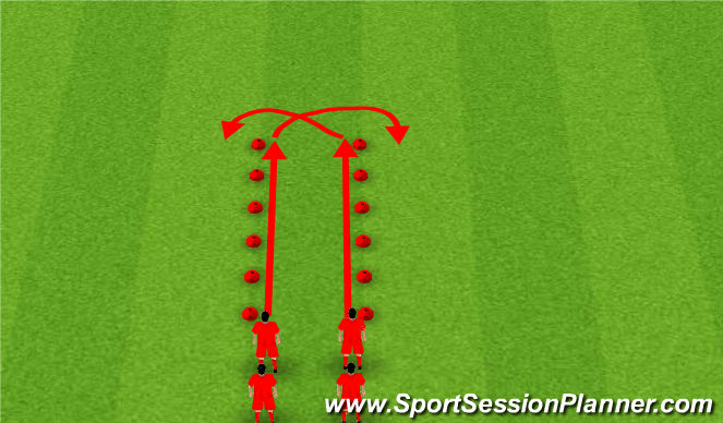 Football/Soccer Session Plan Drill (Colour): Tunnel Movements