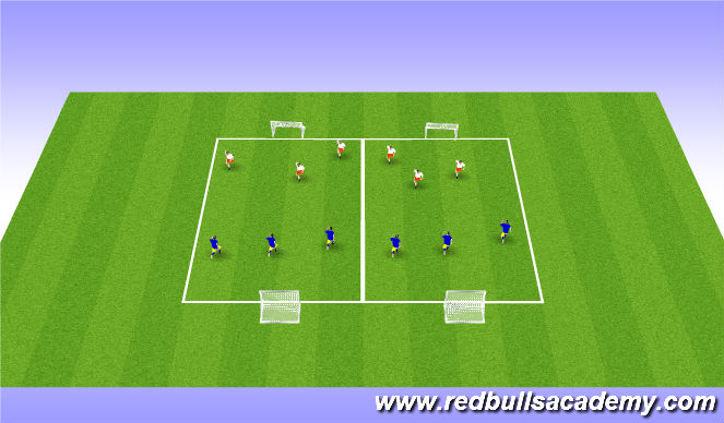 Football/Soccer Session Plan Drill (Colour): 3v3 games - conditioned