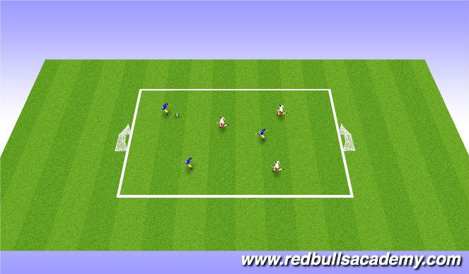 Football/Soccer Session Plan Drill (Colour): 3 vs 3 / 1 vs 1