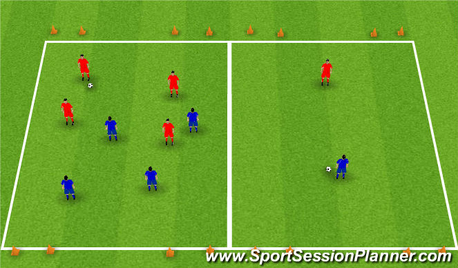 Football/Soccer Session Plan Drill (Colour): Overload/outnumbered game