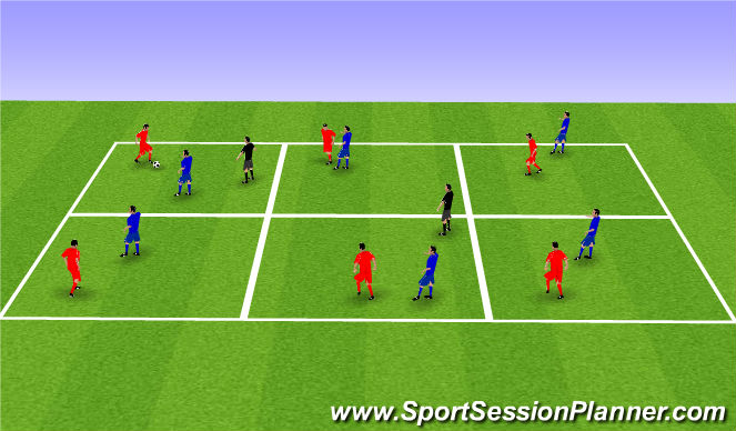 Football/Soccer Session Plan Drill (Colour): More Possession Areas