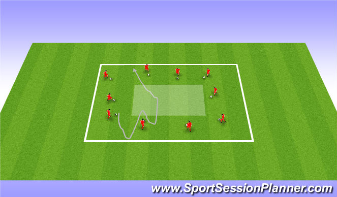 Football/Soccer Session Plan Drill (Colour): Variable Dribbling