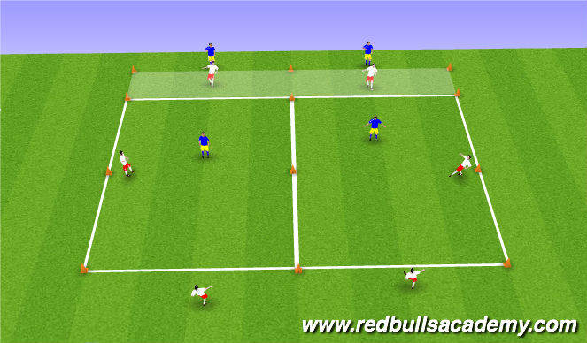 Football/Soccer Session Plan Drill (Colour): 2 lines, 2 defenders