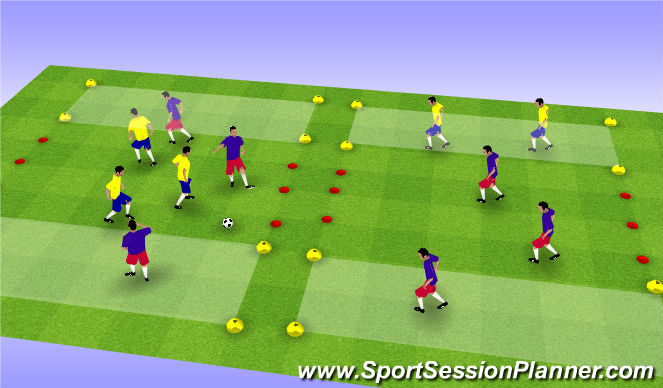 Football/Soccer Session Plan Drill (Colour): 3v3 to End Zone Goals