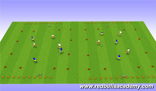 Football/Soccer Session Plan Drill (Colour): Tournament 3v3 with end zones