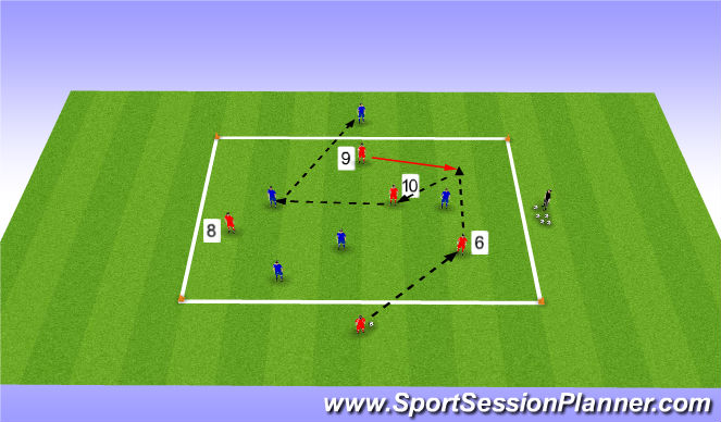 Football/Soccer Session Plan Drill (Colour): Positioning Game 5 v 4