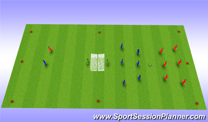 Football/Soccer Session Plan Drill (Colour): Back to Back Goals Game