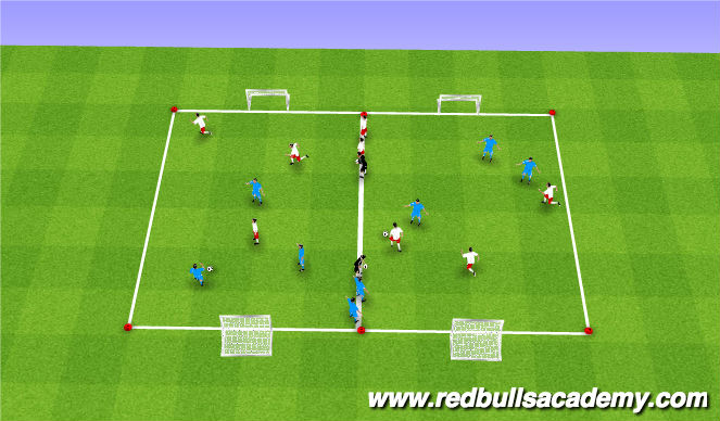 Football/Soccer Session Plan Drill (Colour): Game Play 3v3