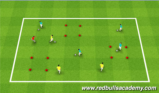 Football/Soccer Session Plan Drill (Colour): Free Movement --> Contamination!