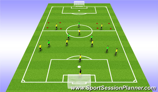 Football/Soccer Session Plan Drill (Colour): 9v7