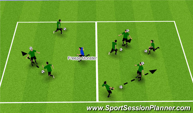 Football/Soccer Session Plan Drill (Colour): Warm-Up - Marshmallow
