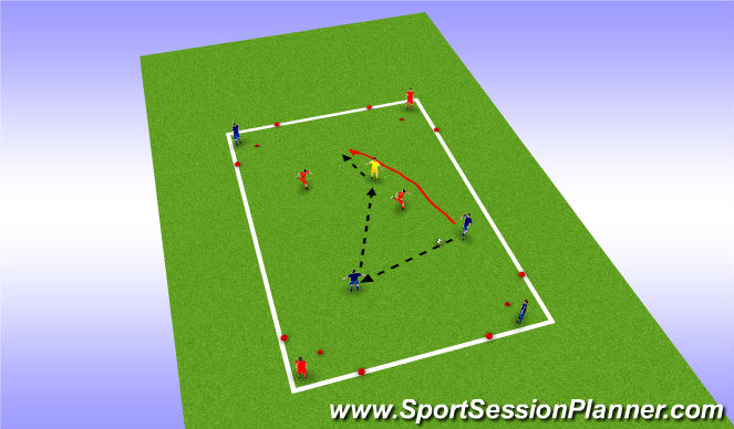 Football/Soccer Session Plan Drill (Colour): 4v4 (+1) Corner to Corner Possesion Exercise