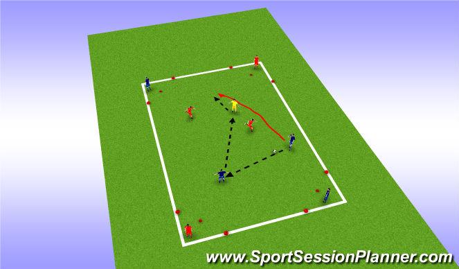 Football/Soccer Session Plan Drill (Colour): 4v4 (+1) Corner to Corner Possesion Exercise