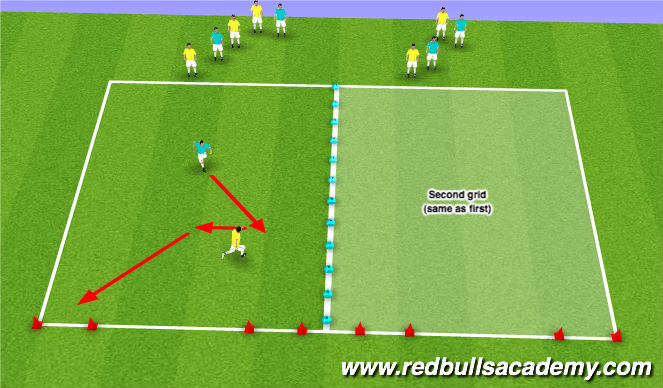 Football/Soccer Session Plan Drill (Colour): Warm-up: Capture the flag