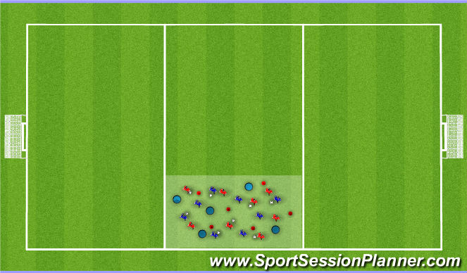 Football/Soccer Session Plan Drill (Colour): warm up/chaos
