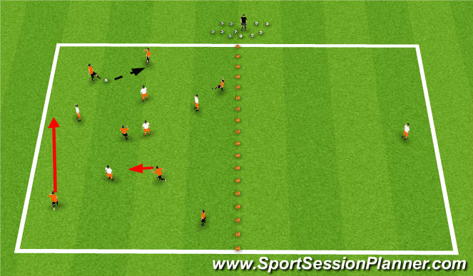 Football/Soccer Session Plan Drill (Colour): 6v5+1