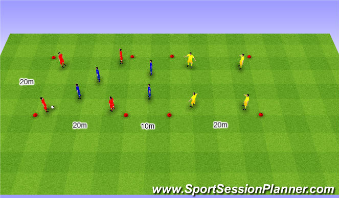 Football/Soccer Session Plan Drill (Colour): Rondo 4v4+4. Dziadek 4v4+4 (10').