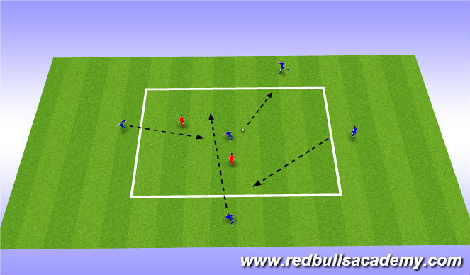 Football/Soccer Session Plan Drill (Colour): Passing with support 4 v1 or 5 v 2
