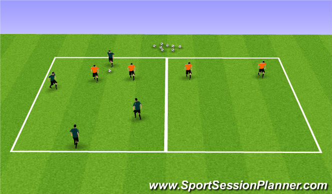 Football/Soccer Session Plan Drill (Colour): 4v2 +2