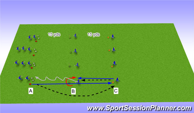 Football/Soccer Session Plan Drill (Colour): Dynamic warmup w/out ball