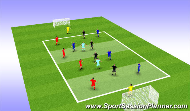 Football/Soccer Session Plan Drill (Colour): Through the Pitch