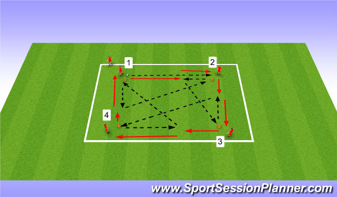 Football/Soccer Session Plan Drill (Colour): Passing - Short/Long