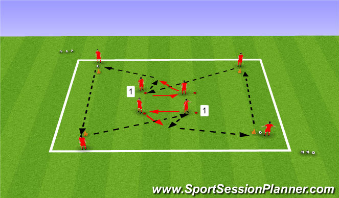 Football/Soccer Session Plan Drill (Colour): Passing Practice 2 - Variation 1