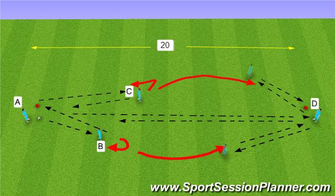 Football/Soccer Session Plan Drill (Colour): passing combo- short-short-long