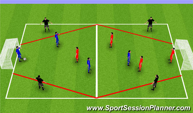 Football/Soccer Session Plan Drill (Colour): 4v4 + 4