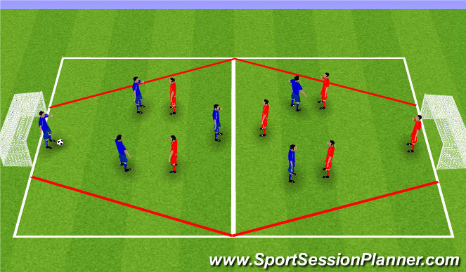 Football/Soccer Session Plan Drill (Colour): 6v6 in Diamond