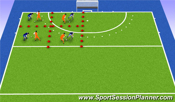 Hockey Session Plan Drill (Colour): mini battles