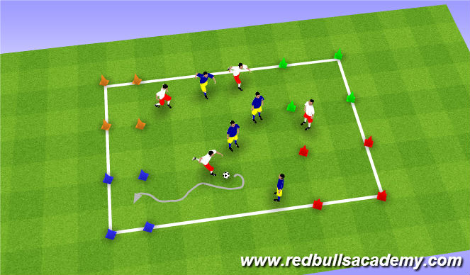 Football/Soccer Session Plan Drill (Colour): 4 Square Game