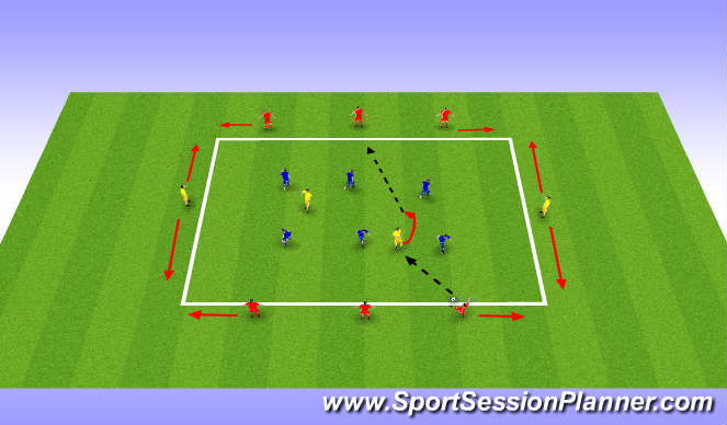 Football/Soccer Session Plan Drill (Colour): 6v6 + 4