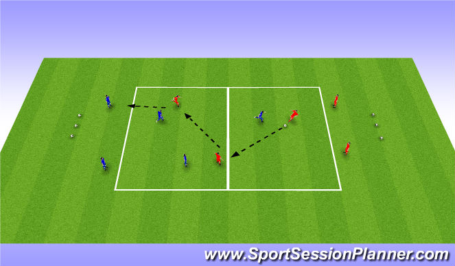 Football/Soccer Session Plan Drill (Colour): 3v3 + 4