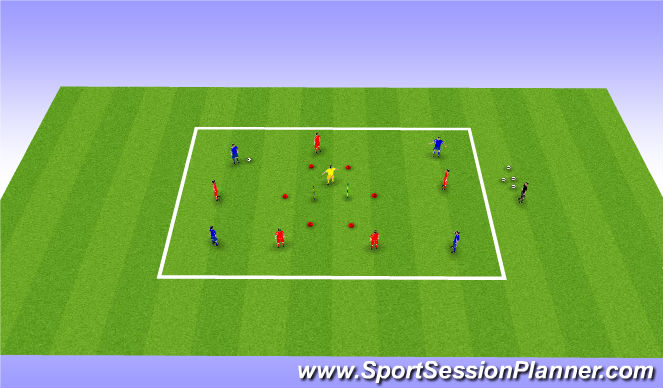 Football/Soccer Session Plan Drill (Colour): Shooting/Switching Play