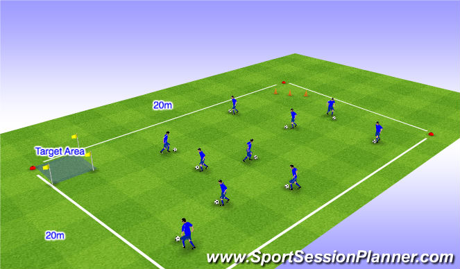 Football/Soccer Session Plan Drill (Colour): Close Control