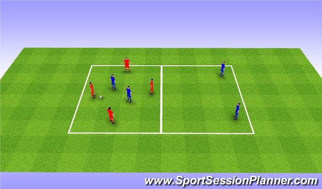 Football/Soccer Session Plan Drill (Colour): Rondo 4v2+2. Dziadek 4v2+2.