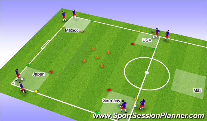 Football/Soccer Session Plan Drill (Colour): Four Country Dribbling