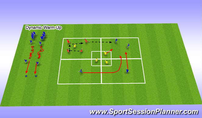 Football/Soccer Session Plan Drill (Colour): Dynamic plus transition warm-up