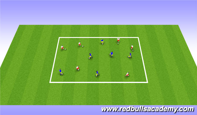 Football/Soccer Session Plan Drill (Colour): Warm up ball mastery.
