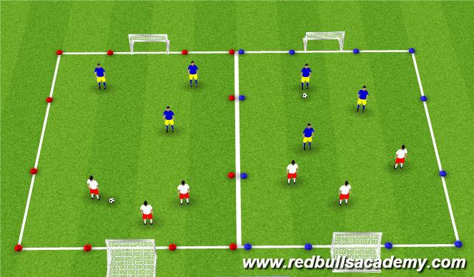Football/Soccer Session Plan Drill (Colour): 2v2/3v3