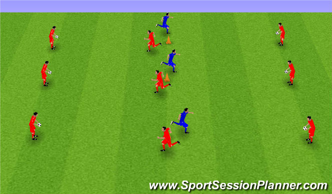 Football/Soccer Session Plan Drill (Colour): First touch and passing technique