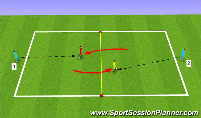 Football/Soccer Session Plan Drill (Colour): collecting to turn and play