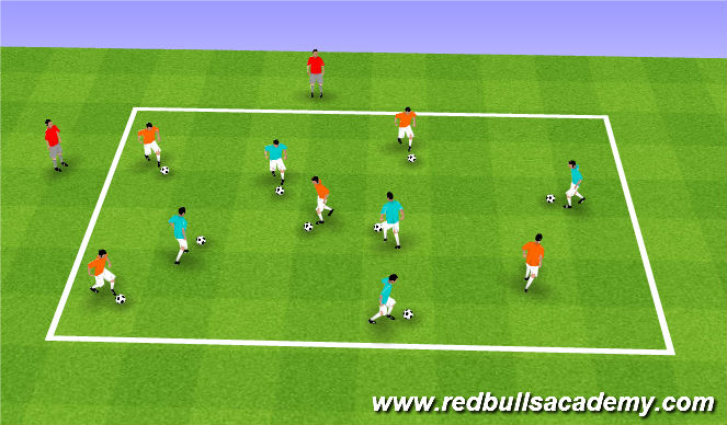 Football/Soccer Session Plan Drill (Colour): Free Movement --> Knock Out