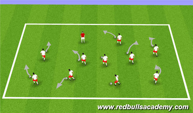 Football/Soccer Session Plan Drill (Colour): Warm up Coach says